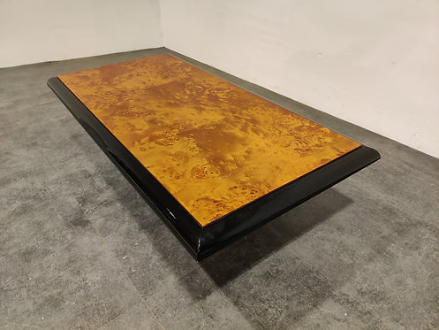 SOLD Vintage burl wooden coffee table, 1980s