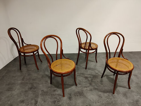 SOLD Thonet no. 14 Dining Chairs by J&J Kohn, 1930s, Set of 4