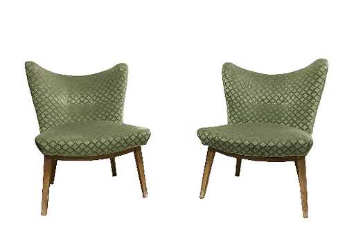 Pair of green mid century green velour cocktail chairs 1950s Belgium