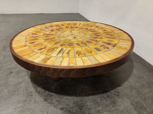 SOLD Round coffee table by Roger Capron, 1970s