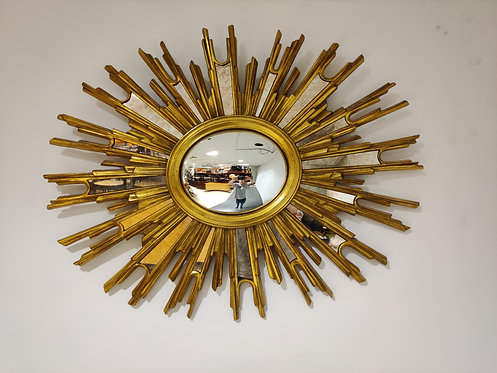 SOLD Mid century golden sunburst mirror