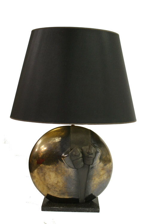 Impressive sculptural stone table lamp, 1970s