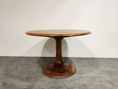 SOLD Mid century round wooden dining table, 1960s