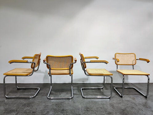 Vintage Marcel Breuer Cesca B64 chairs by Fasem, made in italy, 1970s  (set of 4