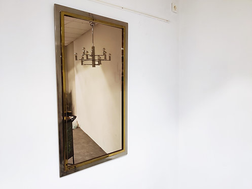 Vintage brass and chrome mirror, 1970s