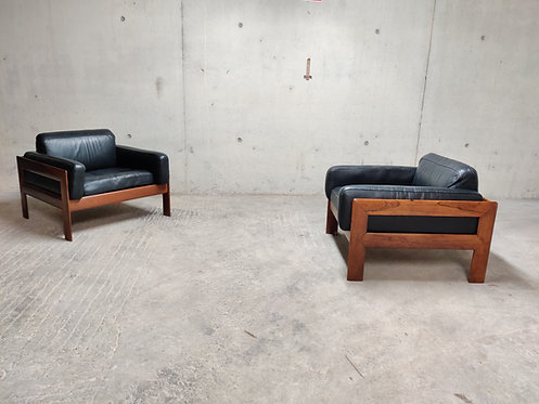 Pair of mid century leather lounge chairs, 1960s
