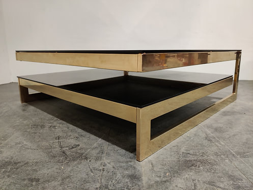 SOLD Rare large two tier belgochrom 23kt coffee table, 1970s