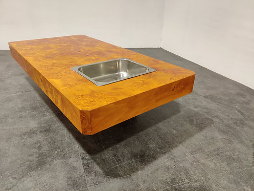 SOLD Vintage burl wooden coffee table, 1970s