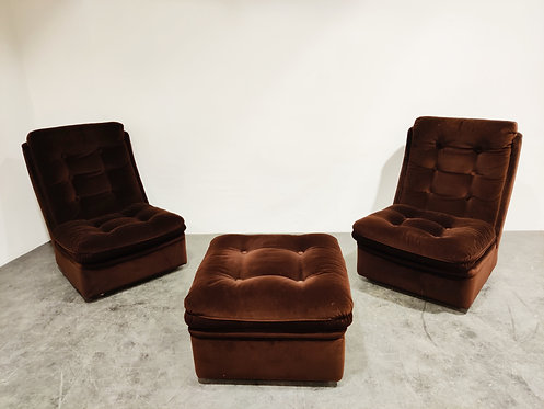 SOLD Mid century lounge chairs with ottoman, 1970s