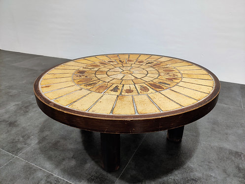 Round coffee table by Roger Capron, 1970s