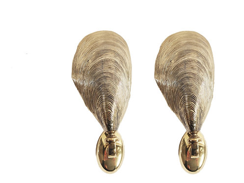 Solid bronze maison jansen mussel wall sconces, set of two, 1970s