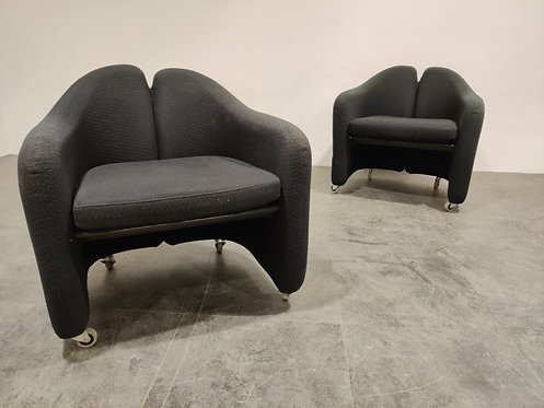 PS142 Easy Chairs by Eugenio Gerli for Tecno, 1970s