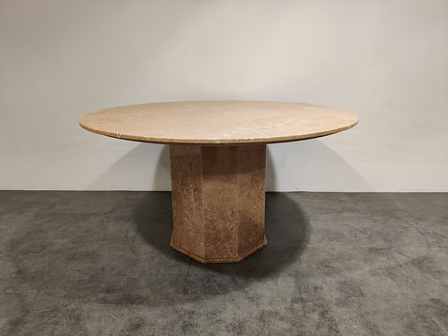 Round italian marble dining table 1970s