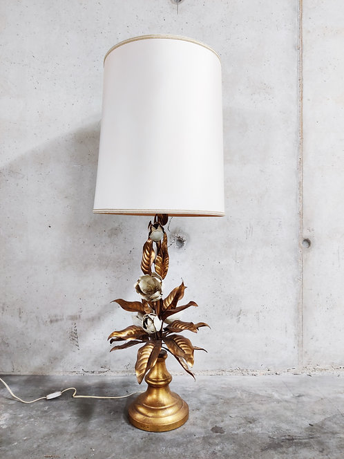 SOLD Large vintage floral table lamp, 1960s