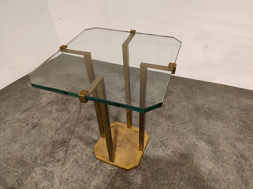 Peter Ghyczy T18 Glass and Brass Side Table