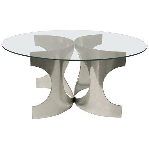 Chrome space age coffee table signed 'NE', 1960s