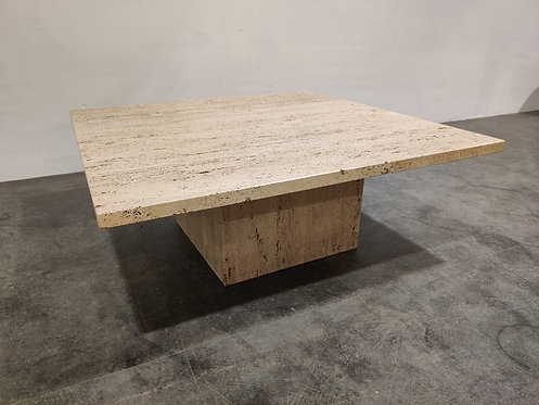 SOLD Travertine coffee table, 1970s