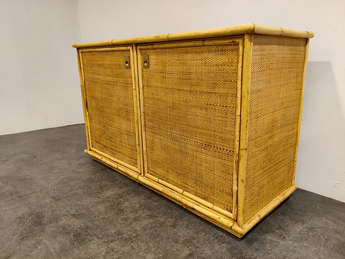 Wicker and bamboo cabinet by Dal Vera, 1960s