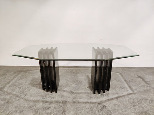 Vintage black marble and glass dining table, 1970s