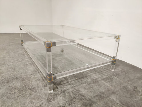 SOLD Chrome and lucite coffee table, 1970s