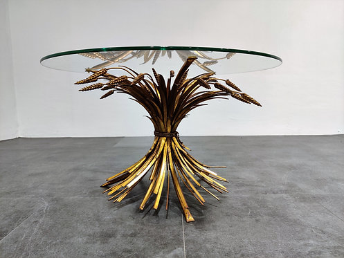 SOLD Vintage gilt metal sheaf of wheat coco chanel coffee table 1960s