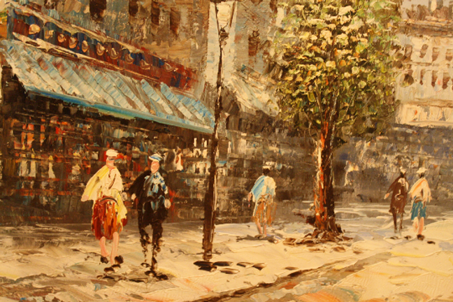 Oil on canvas 'parisian street scne' Caroline burnett | vintiques