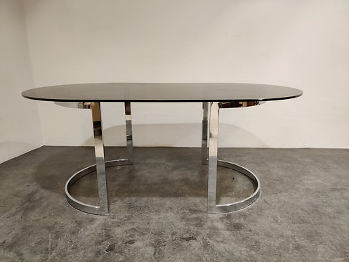 Chrome & Smoked Glass Dining Table by Milo Baughman, 1970s