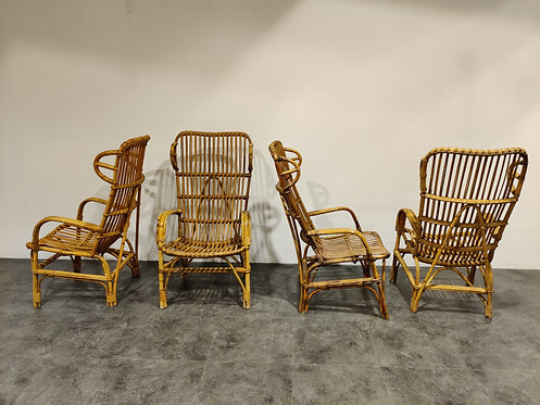 SOLD Vintage rattan high back lounge chairs, 1960s
