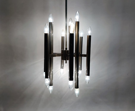 SOLD Vintage Gaetano sciolari candle chandelier made from chrome, 1970s