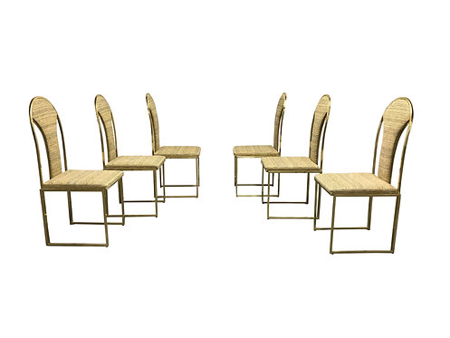 SOLD Vintage brass dining chairs by Belgo chrom, 1970s - set of six