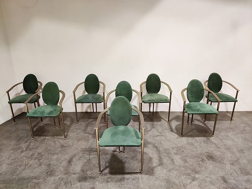 SOLD Vintage dining chairs by Belgo chrom, set of 8 - 1980s