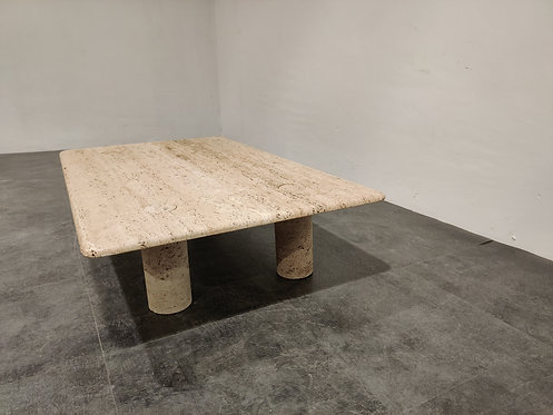 SOLD Angelo Mangiarotti Travertine Coffee Table for Up&Up, Italy