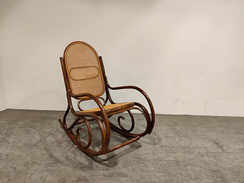 Vintage thonet style rocking chair, 1950s