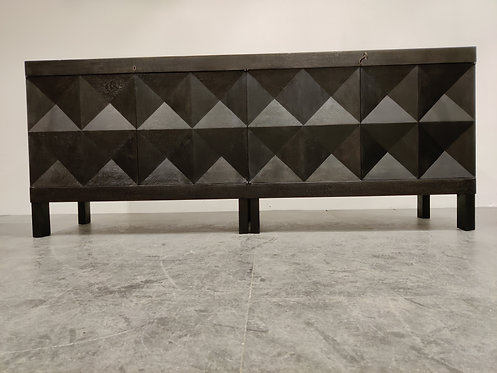 SOLD Graphical brutalist credenza by Decoene, 1970s