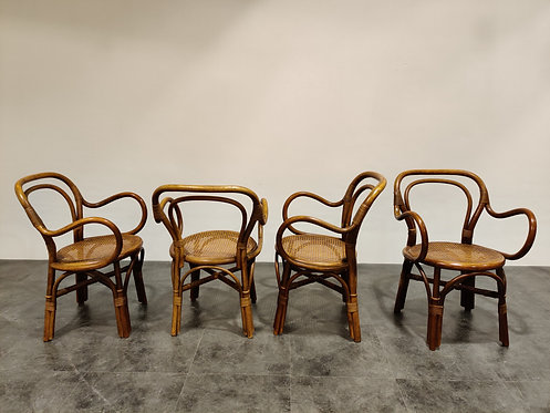 Set of 4 bentwood and rattan dining chairs, 1960s