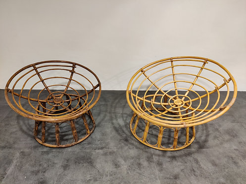SOLD Pair of large vintage rattan chairs, 1970s
