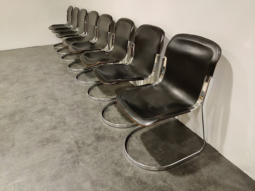 SOLD Vintage dining chairs by Willy Rizzo for cidue set of 8, 1970s