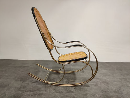 Vintage chrome and rattan rocking chair, 1960s