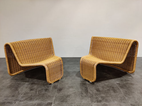 Vintage cane lounge chairs model P3 by Tito Agnoli, 1960s