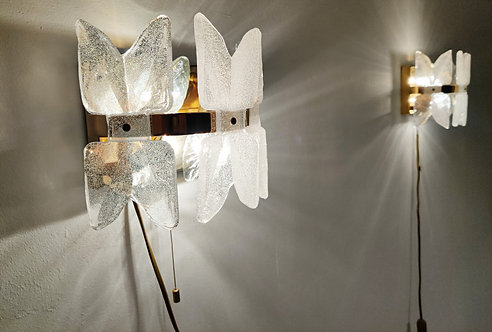 Pair of mid century glass wall lamps by Kalmar, 1960s