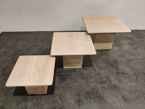 SOLD Vintage travertine nesting tables or side tables, 1970s
