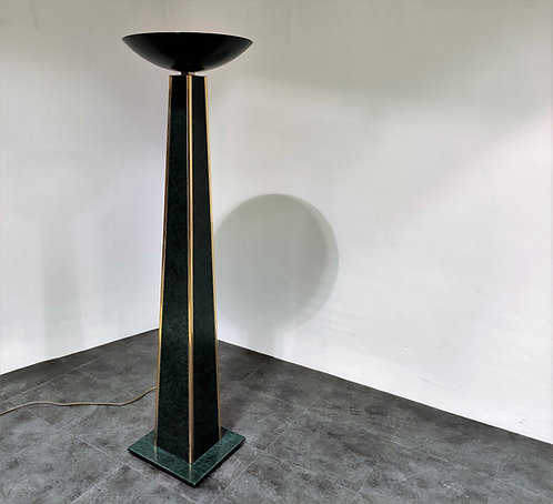 Large brass torchiere floor lamp, 1980s