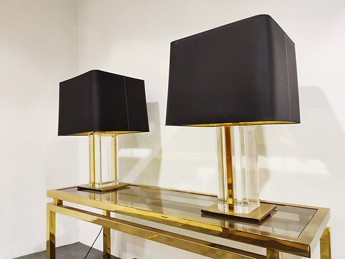 SOLD Pair of vintage brass and lucite table lamps, 1970s