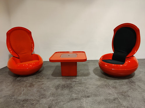 SOLD Peter Ghyczy egg chair set, 1960s