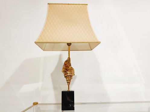Vintage Brass sea shell Table Lamp 1970's