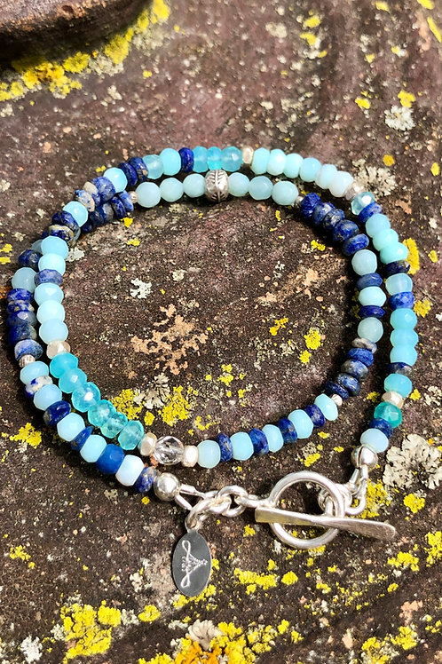 Lapis, Chrysoprase and Peruvian Opal double wrap bracelet