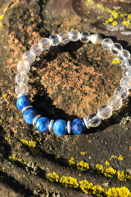 Large Kyanite and and Karen Hill Tribe Silver bracelet