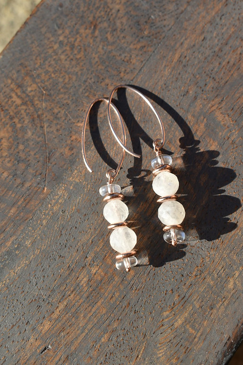Rainbow Moonstone and Rose Gold  (Karen Hill Tribe, Thailand)