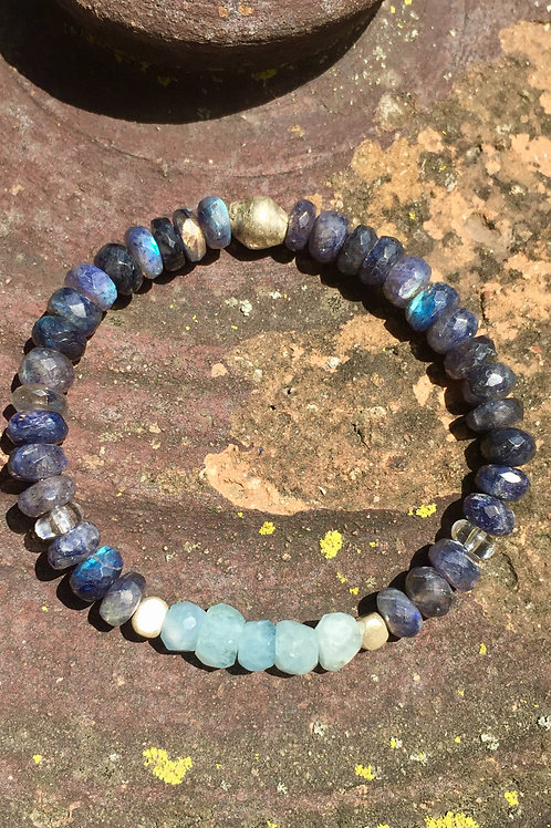 Blue Labradorite and Aquamarine bracelet