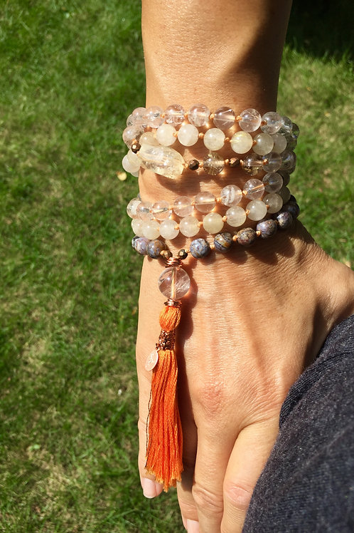 AiliA Hand Knotted Mala with Citrine, Rutilated Quartz and Pietersite
